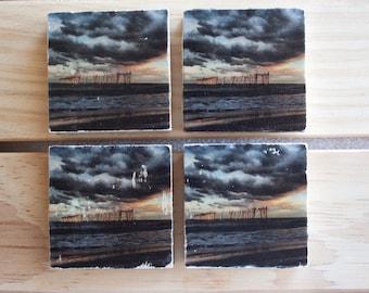 Magnets, Ocean City Pier, Sunset, Photo Transfer, (Set of 4)