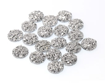 Metallic Silver 12mm Faux Druzy Crystal Clusters Cabochons SMALL Nuggets sfb0321