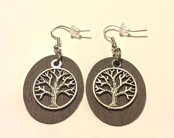 Leather Earrings, Faux Leather earrings, Tree of Life Leather Earrings, Silver Earring Wires, Dangle Earrings, Drop Earrings