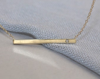 "14k solid gold 2mm X 1 1/4"" inch long genuine diamond bar necklace minimalist necklace"