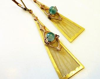 Beaded Triangle Earrings, Vintage Gold Brass Mesh Paddle, Aventurine or Carnelian Bead, Steampunk, Pala Pendulum Earrings
