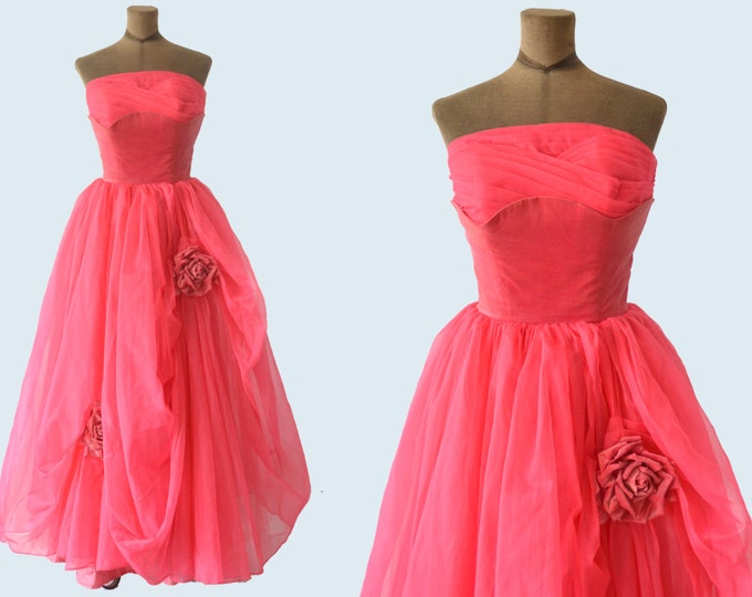 1950s Rose Tulle Gown with Crown size M