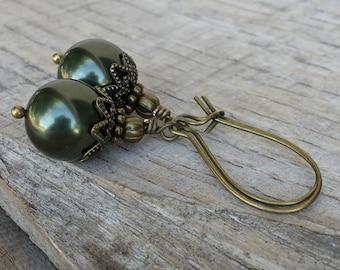 Forest Dwelling Swarovski crystal pearl earrings in brass bronze