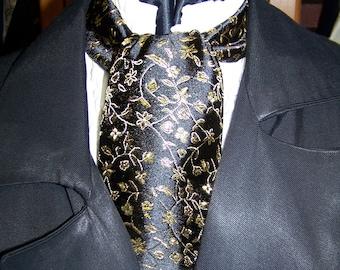 "SALE Ascot or Cravat Gold vine and Black Floral print fabric 4"" x 44"" or 56"" Mens Historial Wedding, cravat tie"