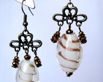 White earrings from lamp work glass and antique brass tone nickel free alloy for her.