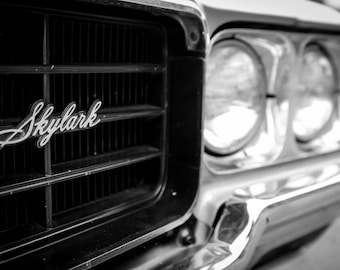 Buick Skylark, fine art Photography, Black and white, wall art, home décor, car photography, vintage,auto, gift, print