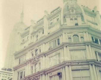 Monochromatic Wall Art - Empire -  New York City Photography, faded, film, cream, gray, grey, architecture, city, dreamy