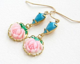 Rose drop earrings, bridesmaid jewelry vintage blush pink rose teal blue turquoise glass tear drop earrings