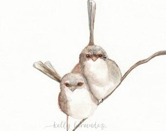 Together, Wren Bird, birds watercolor, bird art, Watercolor print, watercolor birds, Wall art