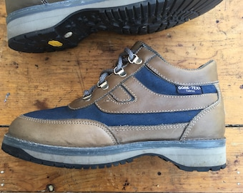 Rockport Goretex Hiking Boots Brown Blue Vibram 8.5 90s
