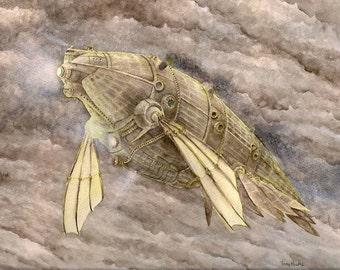Cetacean Airship - Giclee Print of Watercolor Original