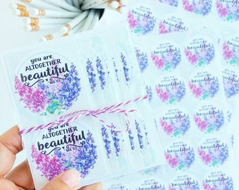 You are altogether Beautiful watercolor floral stickers packaging supplies