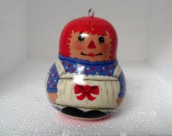 Painted Gourd Ornament, Rag Doll Ornament, Christmas Ornament