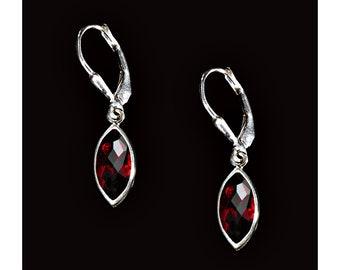 Sterling Silver and Faceted Garnet Marquis Earrings, Garnet Jewelry, January Birthstone Earrings, Dainty Earrings, Everyday Earrings, Gifts