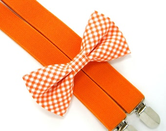 Bow Tie and Suspenders -Orange Gingham Bow Tie and Orange Suspender set for Baby,Toddler and Boys,Children