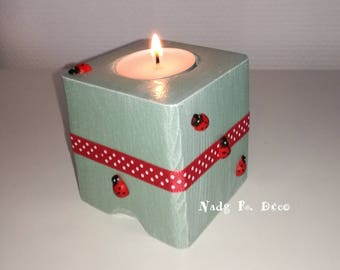 Candlestick cube wood theme Ladybug red green polka dots-Nature-happiness