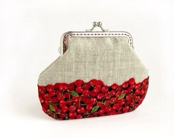 Red cherry linen purse, Fruit Berries Wallet Clasp Frame