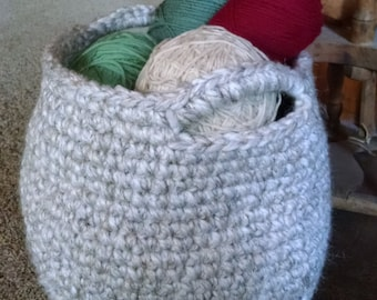 """Basket With Handles Bone Colored Crocheted  10""""H x 121/2""""D"""