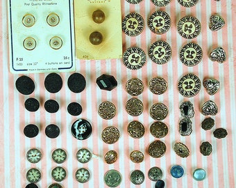 Destash De-stash Lot of at Least 65 Buttons for Crafting Repurposing Some Vintage