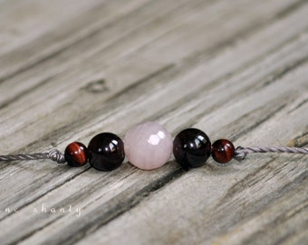 Rose Quartz, Garnet, Tiger Eye, Good Luck, Meditation Bracelet, Intent Bracelet,  Minimalist, Hypoallergenic, Yoga Bracelet, Fertility