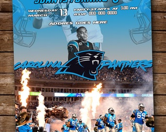 Carolina Panthers M2 Digital Party invitation customize invite birthday thank you card