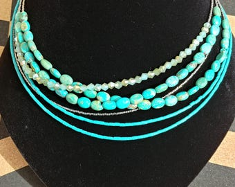 Turquoise Multi-strand Necklace with Silver Accents