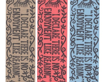 Pack of three Jane Austen bookmarks. 'I declare there is no enjoyment like reading'