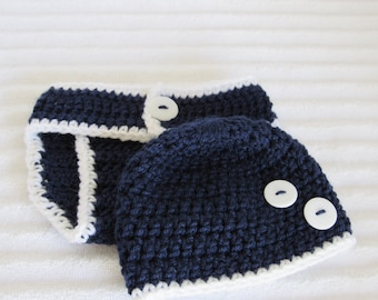 Baby Boy Diaper Cover Set, Navy and White Diaper Cover Set, Newborn Photography Prop, Nautical Diaper Cover Set, Newborn Photo Prop
