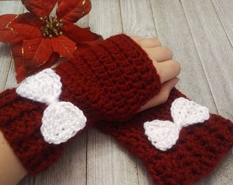 Red Crochet Mittens, Arm Warmers with White Bow, Fingerless Texting Gloves, Crochet Hand Warmers, Fingerless Bow Mitts, Gift for Her