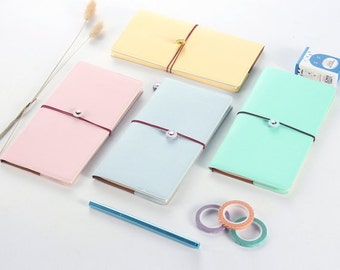 Pastel Traveler's Notebook Refillable Journal Leather Cover Notebook