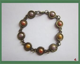 Porcelain Bead Bracelet, Bronze Bracelet, Painted, Gift for Woman, Unique Jewelry, Handmade Jewelry