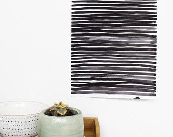 Stripe art, original watercolor painting, black and white, stripe painting