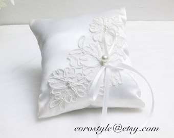 White Satin ring bearer pillow, Lace ring pillow, ring bearer pillow, Lace ring bearer pillow, wedding ring pillow, Wedding ring bearer