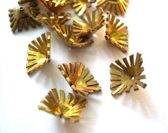 6 Flower cap beads, metal. vintage, 10mm, rare design