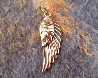 Angel Wing Charm, Angel Wing Pendant, Bronze Angel Wing Charm, Feather Charm, Feather Pendant, Bronze Angel Wing Pendant