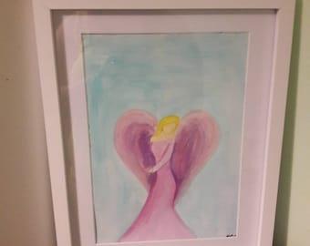 Guardian angel, pastel art, angel wings, sweet angel original A4 acrylic painting or print