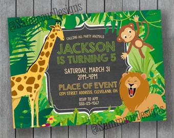Jungle Birthday Invitation - Safari Birthday Invitation - Zoo Birthday Invitation - Printable Birthday Invitations