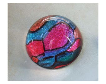 Decorative Paperweight with original art Star Shadow in shimmering pink blue green orange