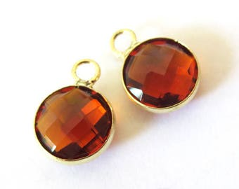 Round charm/pendant set, faceted glass gold metal, 8mm SMOKED TOPAZ