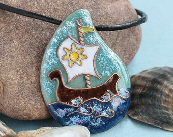 white sail viking ship necklace sailboat art nautical necklace ocean beach summer jewelry sail away