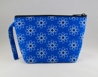 Atoms Blue Makeup Bag - Accessory - Cosmetic Bag - Pouch - Toiletry Bag - Gift