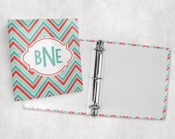 Personalized binder, chevron print 3 ring binder, back to school supplies, school binder, binder organizer, office organizer