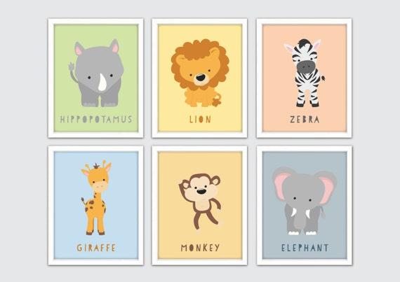 Safari Nursery Art Prints Kids Safari Decor Kids Safari Wall
