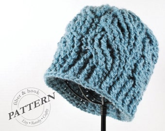 CROCHET PATTERN - Crochet Cable Beanie Pattern, Crochet Cable Hat Pattern, Crochet Cables, Knit-Look (Toddler, Youth, Adult Sizes) pdf #017H