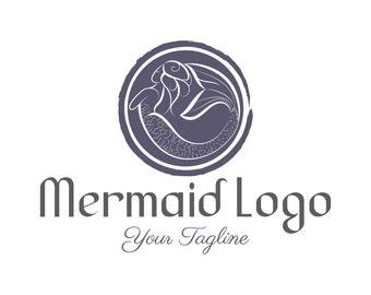 Custom Logo Design Premade Mermaid logo, Photography logo, Business logo,  Vintage logo, Hand drawn logo mermaid ocean,Nautical logo