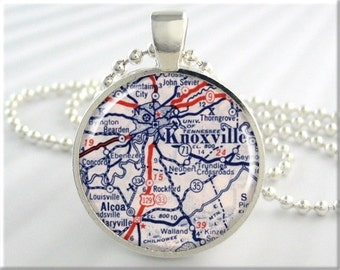 Knoxville Map Pendant, Knoxville Tennessee Map Necklace, Picture Jewelry, Round Silver, Gift Under 20, Travel Gift, Map Charm 657RS