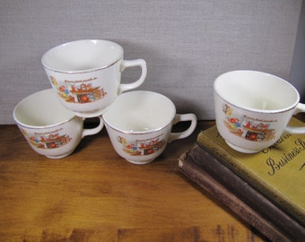 Vintage Teacups - Hearth and Home - Set of Four (4)