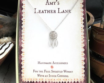 Dream Catcher Necklace-Dreamcatcher Necklace-Boho Necklace-Dream Catcher Jewelry-Dream Catcher Gift-Tribal Necklace-STERLING SILVER NECKLACE
