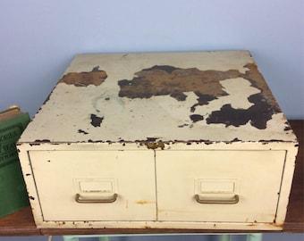 Vintage Card Organizer File Cabinet Metal Cabinet