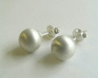 Medium Sterling Silver Pearl Studs. Minimalist Sterling Silver Studs. Solid Sterling Silver Ball Stud Earrings.